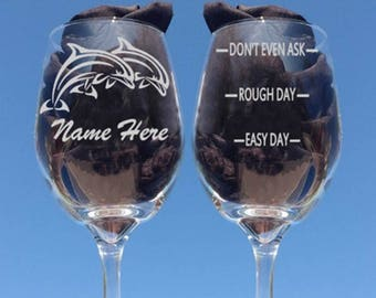 Wine Glasses, New Dolphin Wine Glasses, Add a Name FREE, Tribal Dolphin, Etched Wine Glass, Beach House Glasses, Sea life, Dolphin