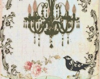 French Shabby Chic Chandelier & Bird Silhouette Cross-Stitch Pattern