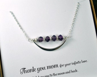 Mom Necklace, Mom Gifts, Mothers Day Gift, Mum Gift, Mom Christmas Gift, Mom Jewelry, Birthday, Mom Cards, Mom, Mommy, Amethyst, Birthstone