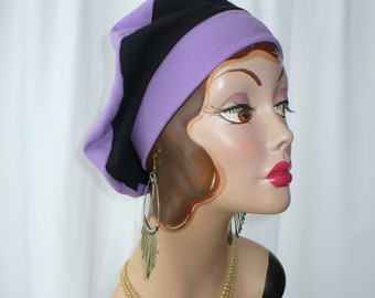 Lilac and Black Cotton Jersey Beret, Chemo Hat