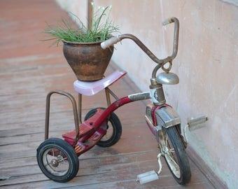 Childrens Bike - Tricycle Bike - Vintage Red Bike - USSR Trike - Child Bike - Retro Metal Bicycle - Red Tricycle Kids Toy - Kids Gift.