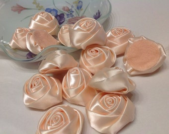 Blush satin fabric flower trim bridal wedding accessory trims 10 pc Satin Roses Pin Brooch Hair Accessory Baby Girls Bow Headband Quilting