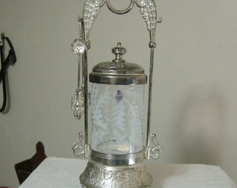 Victorian Style Pickle Castor From Fenton with Fern Optic French Opalescent Style glass insert