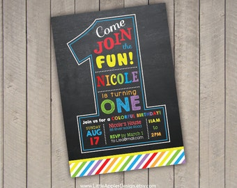Rainbow Birthday Invitation / Rainbow Party  invitation / Rainbow Invitation / Rainbow Invite / Rainbow Chalkboard Invitation