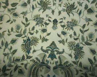 "Indonesian Batik Fabric Wool Peach Textile Batik Delila Phoenix Fire Bird Floral Print Shades of Green Margaria Yogyakarta 3 Yds x 40"""