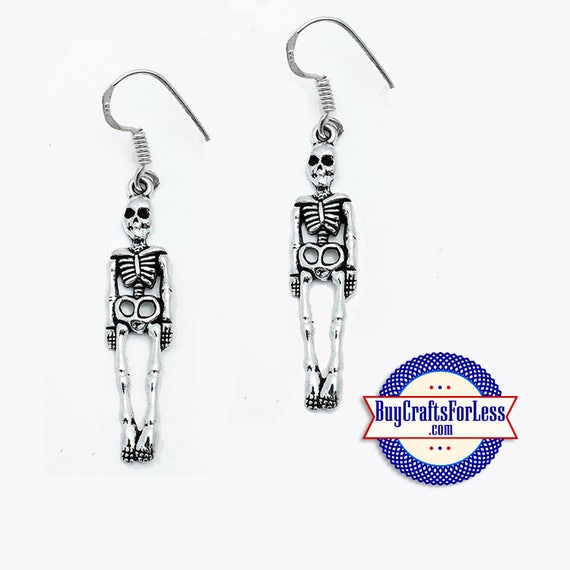 "CLeRANCE ** HALLOWEEN SKELETON Earrings, 2"" + FREE Shipping & Discounts*"