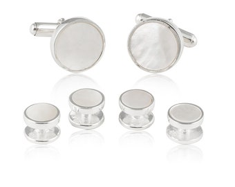Sterling Silver Mother of Pearl Tuxedo Formal Set Cufflinks Studs