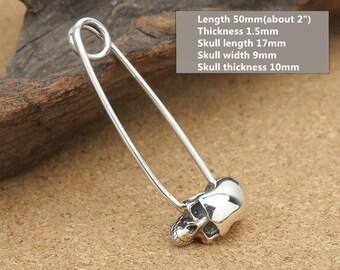 Sterling Silver Skull Brooch Pin Back, Sterling Skull Brooch Pin, 925 Silver Skull Brooch Pinback, Sterling Silver Brooch Pinback - LA431