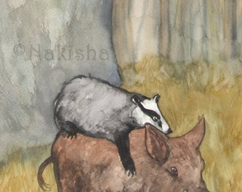 Original Art - The Knight of Badgers- Watercolor Badger Painting -The Badgers Forest Tarot