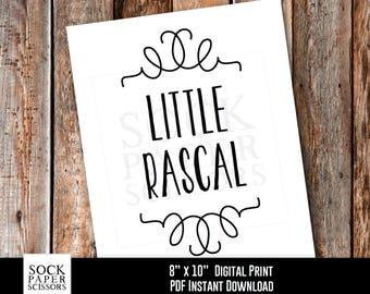 Printable Nursery Art, LITTLE RASCAL Printable Print, Nursery Wall Art, Nursery Art Print, Kids Room Decor, PDF Digital Download, Sku-RNA109