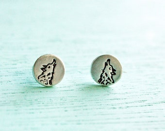 Tiny stud silver WOLF Earrings - gift for her - tiny earrings silver, small stud earrings for women, girlfriend gift wife gift, howling wolf