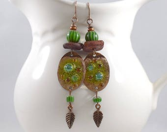 Handmade Earrings, Enameled Earrings, Copper and Green Earrings, Boho Earrings, Copper Earrings, Artisan Earrings, OOAK, Big Earrings, AE230