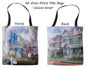 Streets of Cape May Tote Bag; Jackson Street