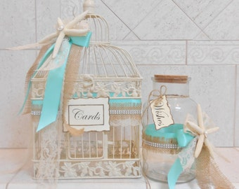 Beach Wedding Card Box | Birdcage Card Holder | Summer Wedding Decor | Message in a Bottle | Card Holder and Wishes Set