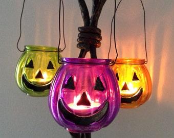 Pumpkin Jack-o-Lantern Hanging Tealight Candle Holder- Halloween Tealight Candle Holder - Pumpkin Tealight Candle Holder