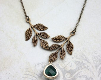 Emerald Green Glass Jewel, Brass Greek Leaves Branch Necklace. Maid of Honor. Bridal Gifts, Rustic Green Wedding. Bridesmaid Gifts.