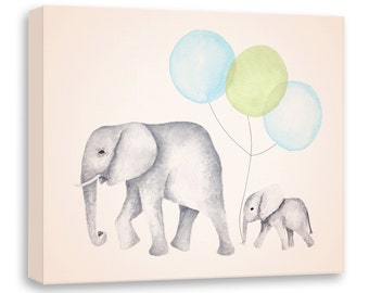 Elephant Painting - Canvas Nursery Art - Green Blue & Gray - Nursery Decor - Watercolor Elephant - Print - Canvas Artwork - E1605