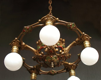 Antique Lighting: 1920s cast iron two light bare bulb style