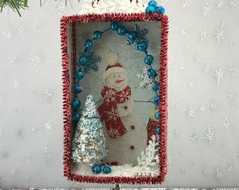Snowman Christmas Card Shadowbox / Christmas Diorama / Shadow Box / Shadowbox / recycled Christmas card / Christmas Ornament