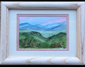Mountain landscape, painting, watercolor painting,  wooden frame, Smoky Mountains, Appalachian Mountains, Blue Ridge Mountains,Small decor