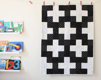 The Constellation Quilt, star quilt, space quilt, monochrome quilt, plus quilt, toddler room, toddler quilt, black and white kids room, star