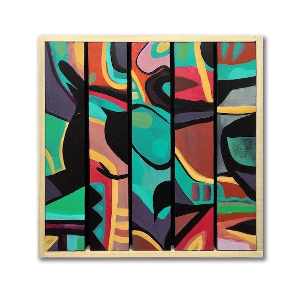 "Test Pilot - Original Painting on Wood Slats - 8"" x 8"""