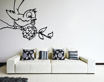 Banksy Vinyl Wall Decal Bird With Grenade Bomb