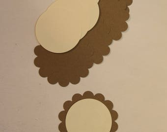Scalloped Circle Tag with Circle Center - Set of 5