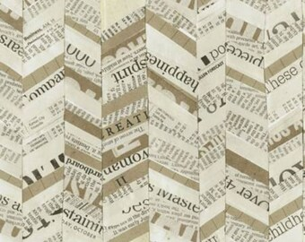 Quilting Fabric - Multi Broken Chevron by Carrie Bloomston - Story Collection Newspaper Print - Windham Fabrics