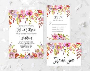 Bohemian Wedding Invitation Printable Boho Wedding Invitation Suite Pink Floral Wedding Invitation Shabby Wedding Invitation Purple 296