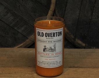 Old Overton Bourbon Whiskey Candle - Recycled Bourbon Bottle Candle Handmade Soy Candle 1 Liter Recycled Glass Bottle 22oz Soy Wax Candle