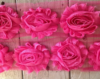 Shabby Rose Trim BUBBLE GUM PINK-2 1/2 inches-1 yard piece
