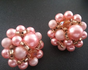 Pink Beaded Cluster Earrings/ Vintage 50's Clip-ons