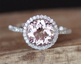 Halo Diamonds Morganite Engagement Ring VS 8mm Round Cut Morganite Ring 14K White Gold Ring Gemstone Ring Gold Engagement Ring Dream Ring