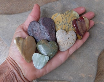 Natural hearts - Love heart flock of seven - handmade stone hearts, contemplation stones