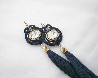 Gold and Violet Soutache Earrings