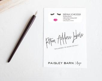 Lashes & Lips Return Address Labels | Skincare business, watercolor, lashes, personalized, lash bar, sticker , custom
