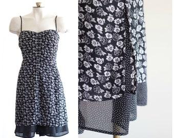 1990s black and white spaghetti strap dress