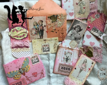 TiffanyJane-Beautiful Dreamer Papier Set-home decor-Mixed media-Art Collage-Valentine-Spring-Vintage Style Keepsakes-Paper goods