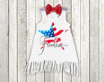 Baby Girl 4th of July Dress Red White Blue Freedom Fringe Dress Patriotic Fourth of July Dress Girl Clothes Girl Dress Squishy Cheeks