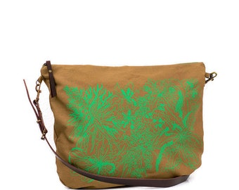 Large shoulder strap, shoulder bag, large bag, green bag, Buenavidastudio, hand-printed, large-capacity handbag