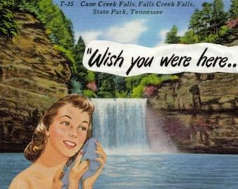 Retro Artwork for Bathroom, Original Collage Art, Bathing Beauty, Waterfall Art, Wish You Were Here, Tennessee Postcard
