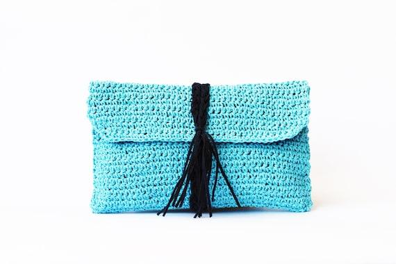 Aqua Paper Raffia Crochet Clutch Straw Beach Bag Summer Woven