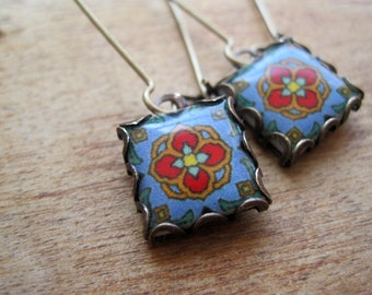 Mission style, Catalina Tile Drop earrings, California Pottery design jewelry, Boho jewelry, Gypsy jewelry, MTO
