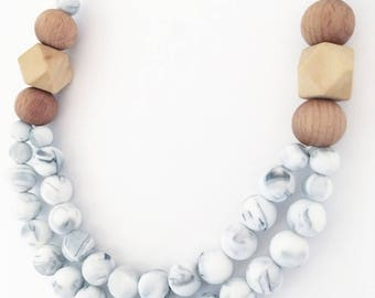 Double Stranded Marbel and Wood Teething Necklace