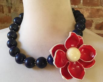 Patriotic July 4 Red White Blue Statement Necklace with Vintage Flower Brooch