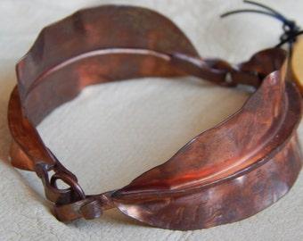 Formed and Hammered Copper Leaf Bracelet
