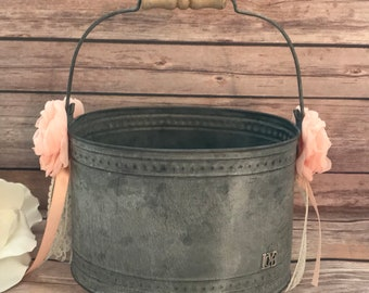 rustic Flower Girl Bucket,Wedding Bucket,Wedding Accessory, Rustic Wedding,Barn Wedding,Outdoor Wedding,peach wedding