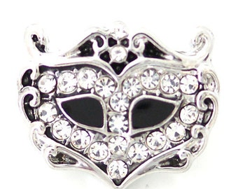 1 PC 18MM Mask Mardi Gras Rhinestone Silver Candy Snap Charm ds5129 CC1622