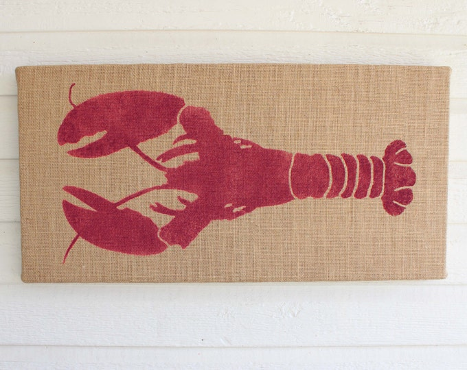 Astacidea Lobster - 12 x 24 Burlap over Cork Message Board, Pin Board, Memo Board, Bulletin Board - Nautical Wall Decor - Lobster Wall Decor